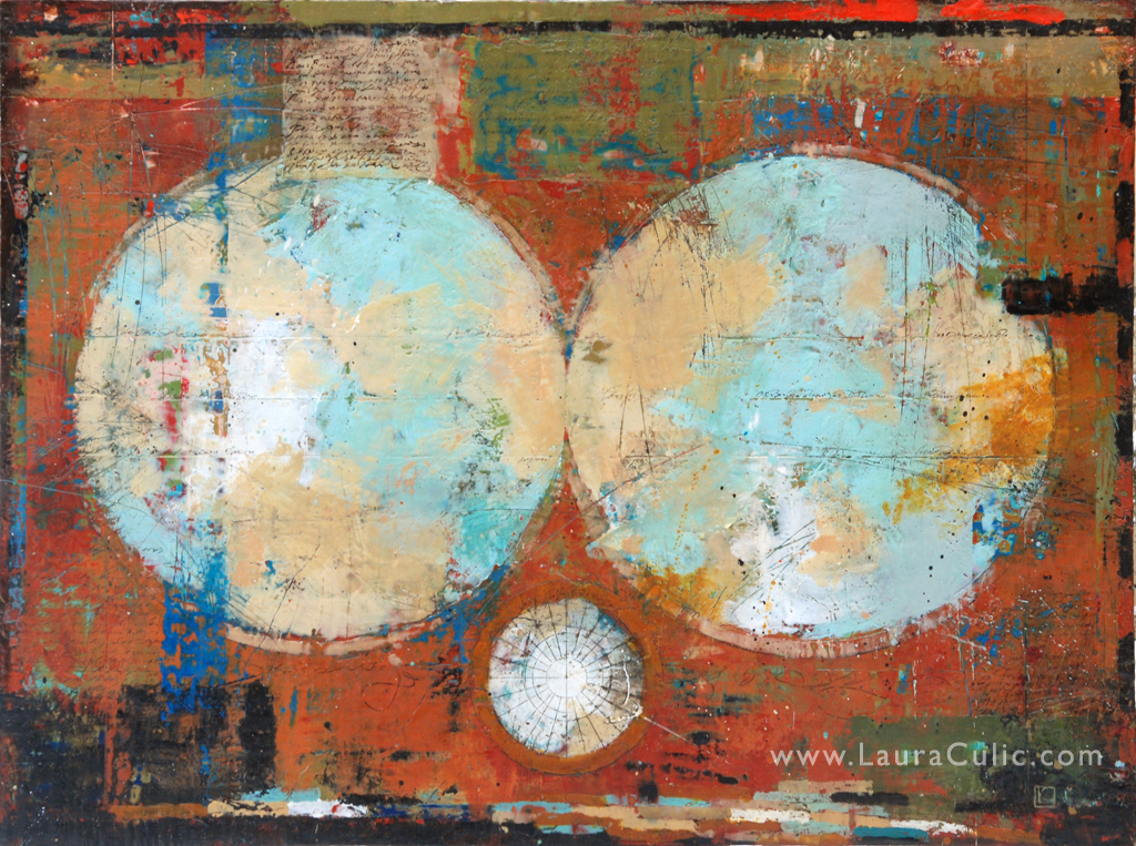 "Wurld 36"" x 48"" encaustic and oil on panel: available at Gallery 133, Toronto"
