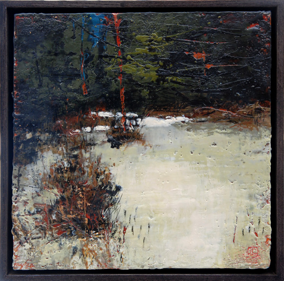 "Avril 12""x 12"" encaustic and oil on panel SOLD"
