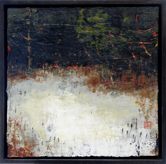 "Verge 12"" x 12"" encaustic and oil on panel"