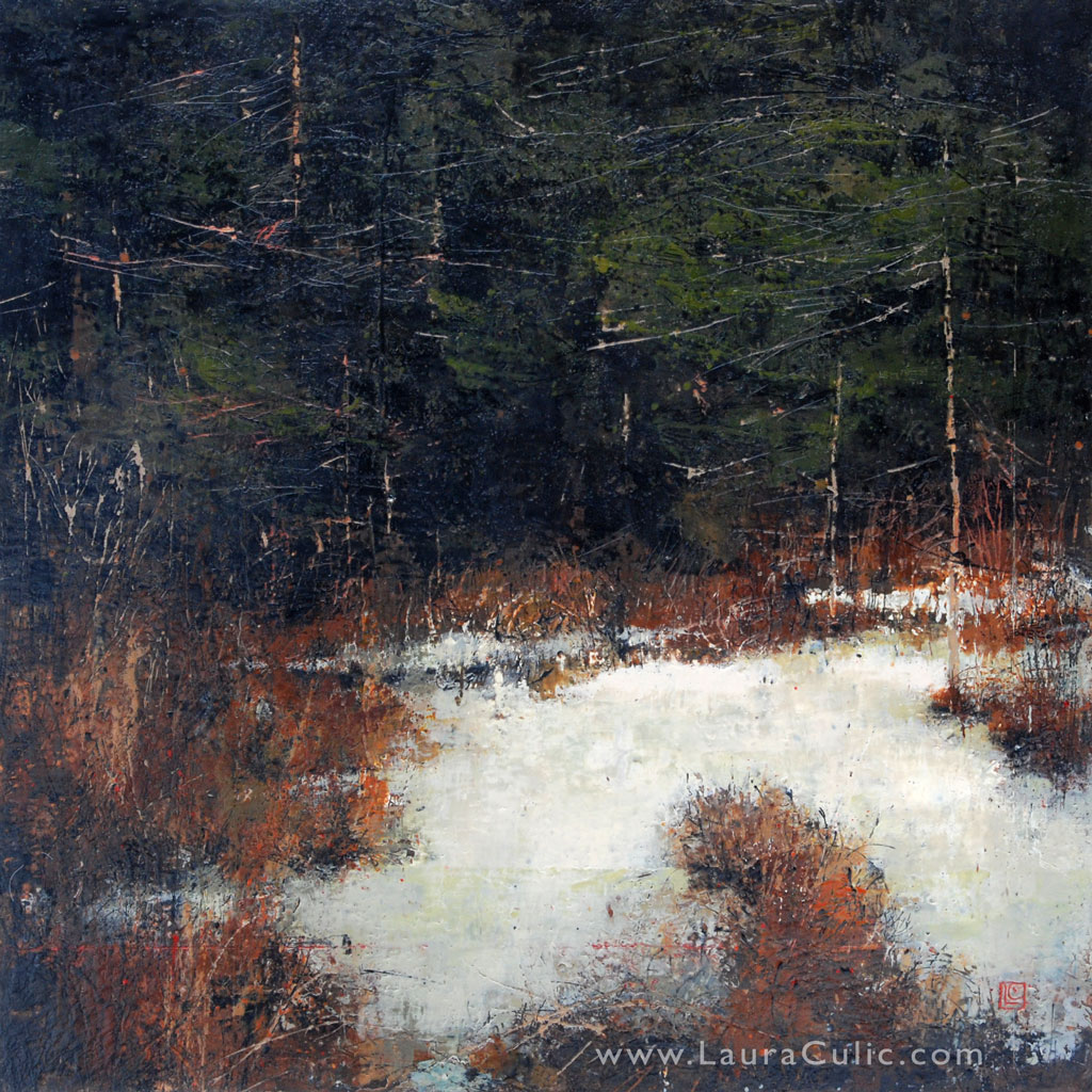 "Enchanted April 40"" x 40"" encaustic and oil on panel SOLD"