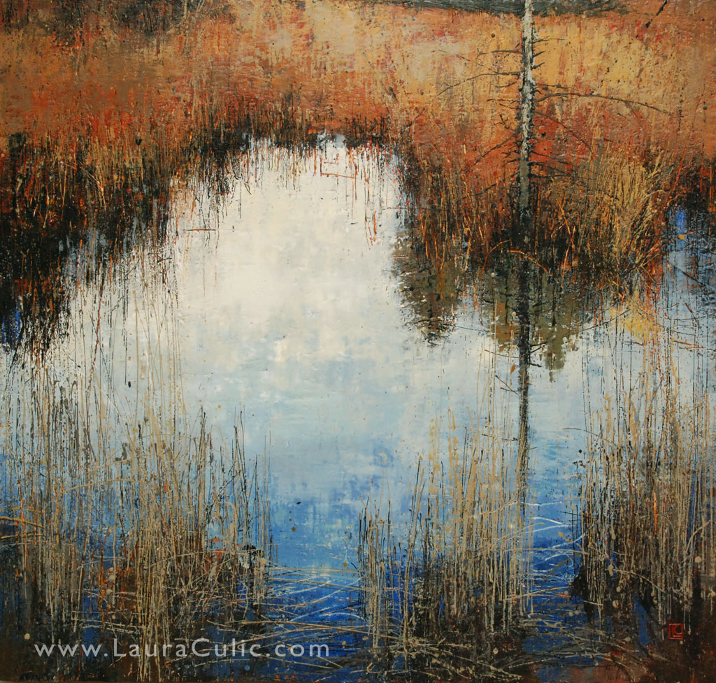 "Reflectant 42"" x 48"" encaustic on panel"