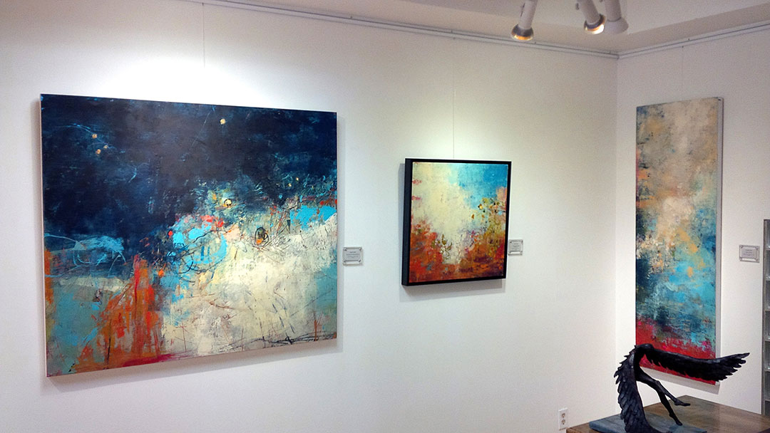 Photo of Laura Culic paintings at Earls Court Gallery, Hamilton Ontario