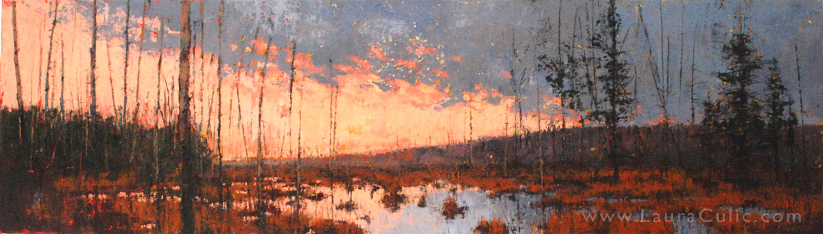 Landscape painting in oil and cold wax on wood panel, by Laura Culic.