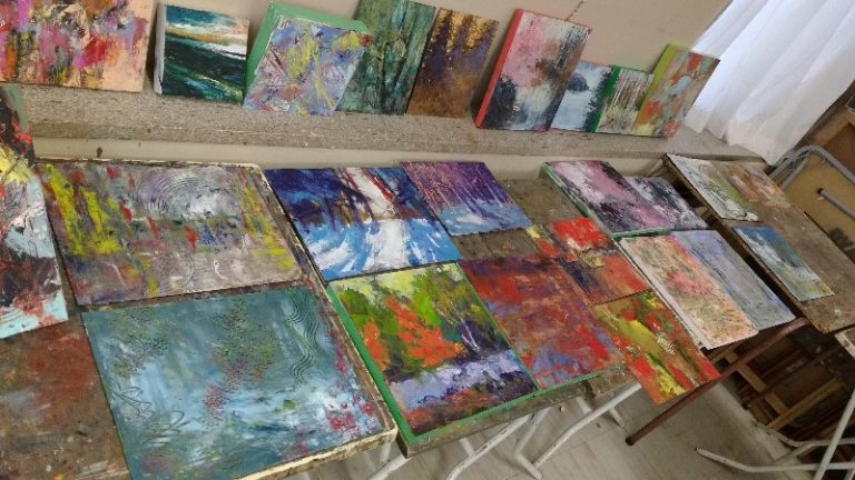 Student paintings from Don Valley Art Club group teaching session in 2017
