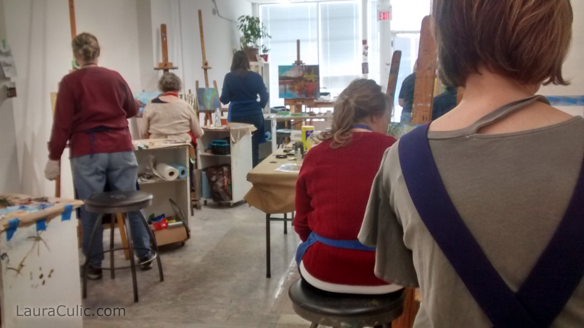 View from the back of the demonstration room in Calgary, with art masterclass taught by Laura Culic